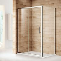 1000 x 800 mm Sliding Shower Enclosure Glass Reversible Cubicle Door Screen Panel with Shower Tray and Waste + Side Panel - ELEGANT