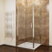 1000 x 900 mm Bifold Shower Enclosure Glass Shower Door Reversible Folding Cubicle Door + Side Panel - ELEGANT