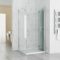 900 x 700 mm Shower Enclosure Cubicle Door with 700 mm Side Panel 6mm Easy Clean Glass Bifold Door - No Tray - LISA