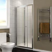 1000x700mm Bifold Shower Enclosure 1000mm Reversible Folding Glass Shower Cubicle Door with Shower Tray Set - ELEGANT