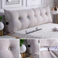 100CM Triangular Wedge Lumbar Pillow Support Cushion Backrest Bolster Soft Headboard(Beige Grey 100CM)