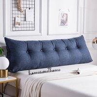 100CM Triangular Wedge Lumbar Pillow Support Cushion Backrest Bolster Soft Headboard(Navy Blue 100CM)