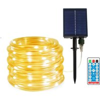 100LED solar tube light, remote control lithium battery 12 meters, warm white light
