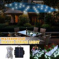 104 LED Solar Energy Umbrella String Light Garden Patio Parasol Fairy Lamp Decor (White, Solar)