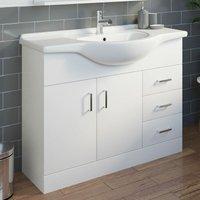 1050mm Floorstanding Bathroom Vanity Unit and Basin Single Tap Hole White Gloss