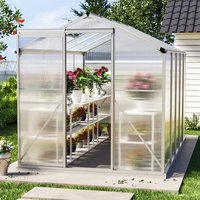 10ft × 6ft Greenhouse Polycarbonate Aluminium Greenhouse with Window and Sliding Door - LIVINGANDHOME