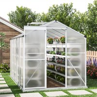 10ft × 6ft Greenhouse Polycarbonate Aluminium Greenhouse with Window, Sliding Door, and Foundation - LIVINGANDHOME