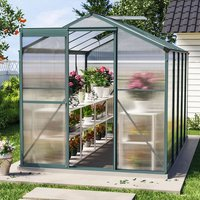 Livingandhome - 10ft x 6ft Garden Greenhouse Aluminium Polycarbonate Green Plant Housing With Base