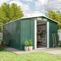 Livingandhome - 10ft x 8ft Green Metal Garden Shed Garden Storage WITH FREE BASE Foundation