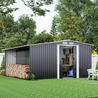 Livingandhome - 10ft x 8ft Metal Garden Tools Shed With Firewood Log Storage-Dark Grey