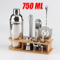10pcs Cocktail Shaker Set Maker Mixer Martini Spirits Bar Strainer Bartender Kit Bar Wine Tool 750ml