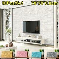 10pcs / set 3D Brick Wall Stickers Panels Self-adhesive Decals Bedroom Home Decor (White, 10pcs / set)
