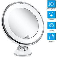 10X Magnifying Makeup Mirror with Lights, Smart Switch, 360 Degree Rotation, Powerful Suction Cup, Portable, Good for Table, Bathroom, Travel