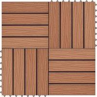 11 pcs Decking Tiles Deep Embossed WPC 30x30cm 1sqm Light Brown - VIDAXL