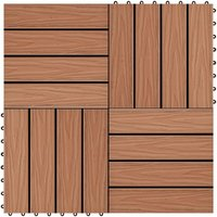 11 pcs Decking Tiles Deep Embossed WPC 30x30cm 1sqm Light Brown