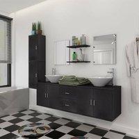 Zqyrlar - 11 Piece Bathroom Furniture Set with Basin with Tap Black - Black