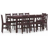 11 Piece Dining Set Pinewood Dark Brown - Brown