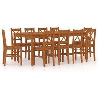 11 Piece Dining Set Pinewood Honey Brown - Brown