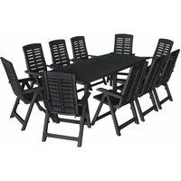 11 Piece Outdoor Dining Set Plastic Anthracite - Grey - Vidaxl