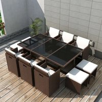Youthup - 11 Piece Outdoor Dining Set with Cushions Poly Rattan Brown