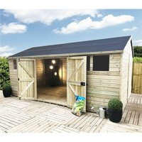 Marlborough Workshops(bs) - 11 x 12 Reverse Premier Pressure Treated Tongue And Groove Apex Shed With Higher Eaves And Ridge Height 2 Windows And