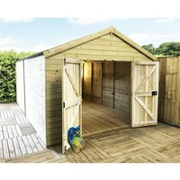 11 x 13 Windowless Premier Pressure Treated Tongue And Groove Apex Shed With Higher Eaves And Ridge Height And Double Doors (12mm Tongue and Groove