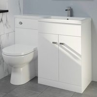 Aurora - 1100mm Bathroom Vanity Unit Basin and Toilet Combined Unit RH White