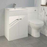 Aurora - 1100mm Toilet Bathroom Modern Vanity Unit Combined Basin Unit LH White