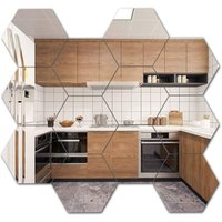 12 PCS Hexagon Mirror Tile Wall Sticker 3D Acrylic Decor Mirror Wall Sticker On Modern Decal for Home Living Room Bedroom (17.7 * 15.3 * 9 cm, Silver)