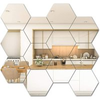 12 PCS Hexagon Mirror Tile Wall Sticker 3D Acrylic Decor Mirror Wall Sticker On Modern Decal for Home Living Room Bedroom (12.6 * 11 * 6.3 cm, Silver)