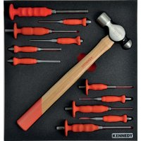 12 Piece Punch and Hammer Set in Tool Control 2/3 with Foam Inlay for To - Kennedy