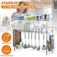 1/2 tier 70 / 90cm stainless steel kitchen rack drain drying dish rack over sink (70cm-2 tier)