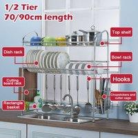 1/2 tier 70 / 90cm stainless steel kitchen rack drain drying dish rack over sink (90cm 2 tier)