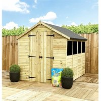 Marlborough(bs) - 12 x 4 **Flash Reduction** Super Saver Pressure Treated Tongue and Groove Apex Shed + Double Doors + Low Eaves + 4 Windows