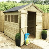 Marlborough(bs) - 12 x 6 Premier Pressure Treated Tongue And Groove Apex Shed With Higher Eaves And Ridge Height 6 Windows + Single Door + Safety