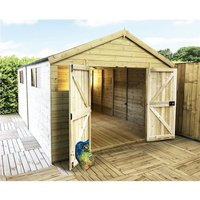 12 x 8 Premier Pressure Treated Tongue And Groove Apex Shed With Higher Eaves And Ridge Height 6 Windows And Double Doors (12mm Tongue and Groove