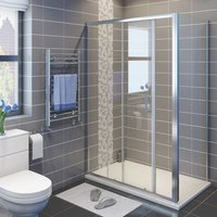 1200 x 760 mm Sliding Shower Enclosure 6mm Safety Glass Reversible Bathroom Cubicle Screen Door with Side Panel