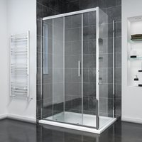 1200 x 900mm Sliding Shower Enclosure 8mm Easy Clean Glass Shower Cubicle Door with Tray + Side Panel