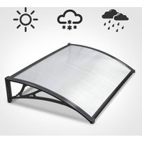 120cm Door Canopy Transparent Awning Shelter Front Back Porch Outdoor Shade Patio Roof - Black