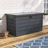 120CM Garden Storage Box Chest Lockable Tool Organizer, Dark Grey