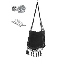 120cm Swing Chair Hammock Hanging Seat Cotton Rope For Indoor Outdoor Garden black