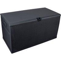 120gal 460L Outdoor Garden Plastic Storage Deck Box Chest Tools Cushions Toys Lockable Seat Waterproof - Black - Black
