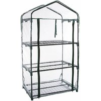 126x70x49cm Portable 3 Layers Shelves PVC Cover Steel Support Frame Greenhouse Outdoor Courtyard Garden Green Plant Storage House