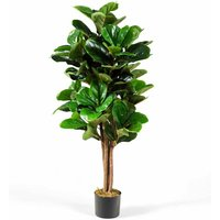 Costway - 1.2M Decorative Artificial Plant Fiddle Leaf Fig Tree Pot Realistic In/Outdoor