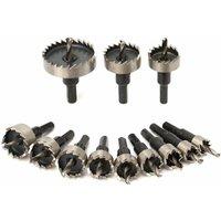 Drillpro - 12pcs HSS Hole Saw Blades Teeth Kit 15-50mm Drill Bit Set Hole Cutter Tool for Wood Plastic Metal Alloy