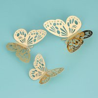 12pcs/set 3D Butterfly Wall Stickers Hollow Removable Mural Stickers DIY Art Wall Decals Decor with Glue for Bedroom Wedding Party--Gold,model:Gold