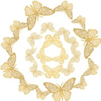 12pcs/set 3D Butterfly Wall Stickers Removable Mural Stickers DIY Art Wall Decals Decor with Glue for Bedroom Wedding Party--Gold,model:Gold