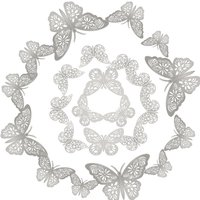 12pcs/set 3D Butterfly Wall Stickers Removable Mural Stickers DIY Art Wall Decals Decor with Glue for Bedroom Wedding Party--Silver,model:Silver