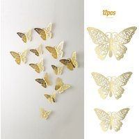 12pcs/set Vivid 3D Butterfly Wall Stickers Removable Mural Stickers DIY Art Wall Decals Decor with Glue for Bedroom Wedding Party--Gold,model:Gold