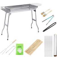 12PCS Stainless Steel Folding Charcoal Grill Set 5-15 Persons 74x33.5x70cm - KINGSO
